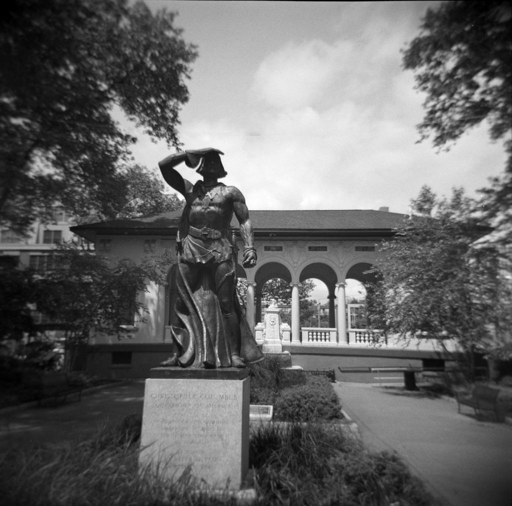 Statue in Columbus Square Park